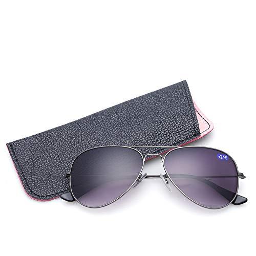 Sonnen Lese Gläser,Silverframegraylens,+1.50 (Gucci-brillen-rahmen Für Männer)