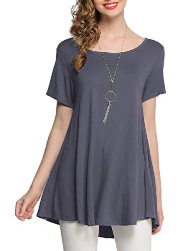 BELAROI Sommer T-Shirt Damen Oberteil Tunika Kurzarm Bluse Tops Basic Tee Shirt Tshirts Casual Lose Swing Einfarbig -