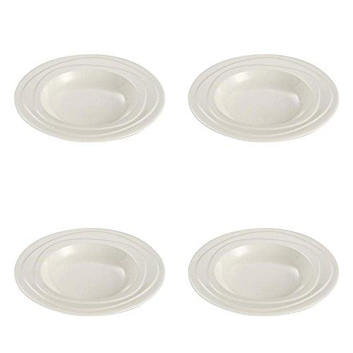 Jamie Oliver Waves Lot de 4 Grande Profondeur de 23 cm/22,9 cm Round Assiettes Plates Porcelaine Blanc cassé moderne et contemporain décoratifs Vaisselle dîner rôti de service Vaisselle au lave-vaisselle et au micro-ondes