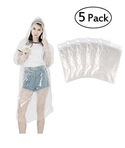 Günstige Sehr Kostüm - LEBEXY Einweg Regenponcho mit Kapuze Transparent 5 Stück