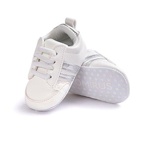 Itaar, Scarpe primi passi bambini White + Gold Stripe 12 - 18 mesi White + Sliver Stripe