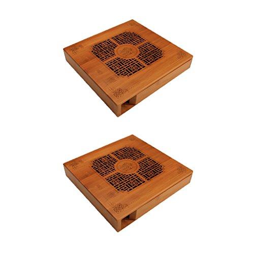 MagiDeal 2 Stücke Teetablett - Teetisch aus Bambus für chinesische Teezeremonie Gong Fu Cha