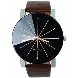 Rcool Mode Herren Runde Quarz Zifferblatt Uhr Leder Armbanduhr mit Legierung Gehäuse Kaffee