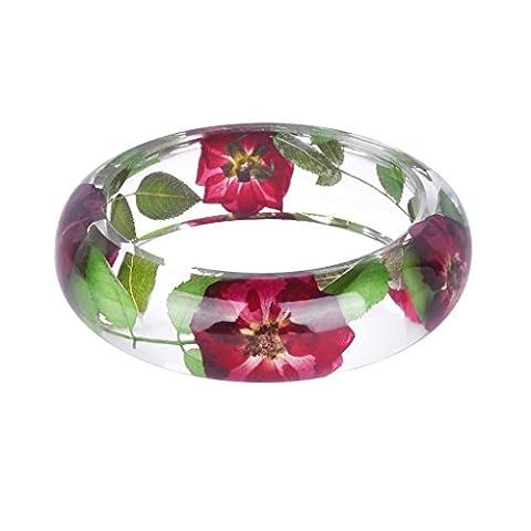 Bracelet Jonc à Brassard Large Lisse Douce Bracelet Rose Rouge Pour Les Femmes Pour Amant