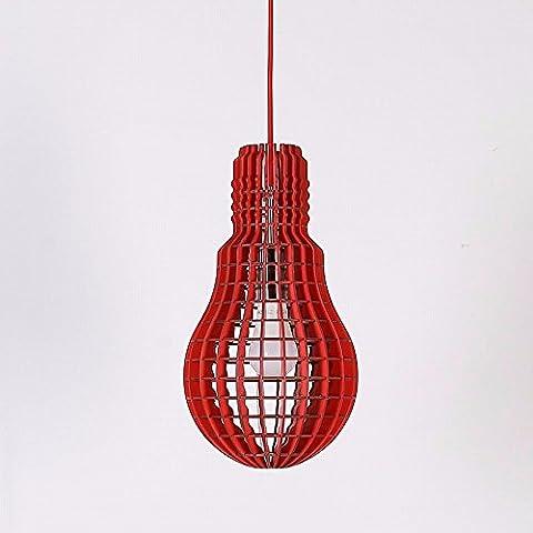 HENGXin @ La lampadina della luce lampadario creativo legno lampadario moderno LED soffitto in legno Ciondolo lampada luce ombra semplice ragazzino Cucina Camera da letto soggiorno sala da pranzo Droplight (nero)