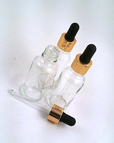 3 x flacons de compte-gouttes (30 ml) en verre transparente avec des pipettes de haute qualité dorées et noir