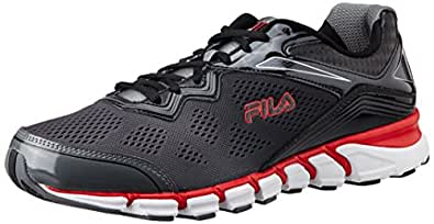 Fila Men's Mechanic 2 Energized Castle Rock, Black and Fila Red  Running Shoes -11 UK/India (45 EU)