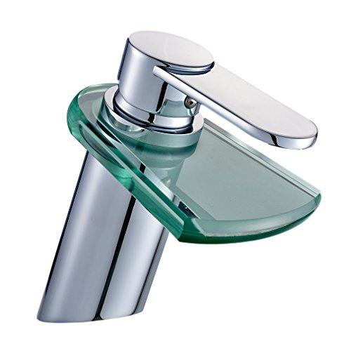 Auralum® Miscelatore lavabo Rubinetto quadrato a cascata in vetro rubinetti bagno