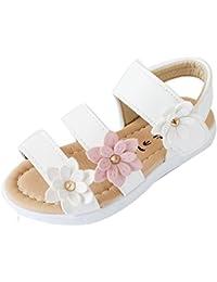 Sandalias niña verano ❤️ Amlaiworld Zapatillas Zapatos planos de chicas Flor Sandalias para niñas calzado Zapatos de vestir Zapatos Princesa (Blanco, 22)