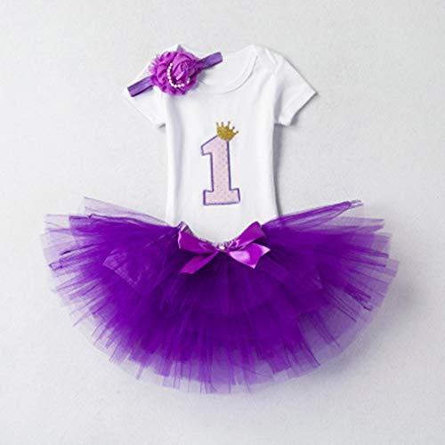 L_shop Mädchen Tutu Party Outfit Kostüm Prinzessin Ballett Tutu Rock Geburtstag Festzug Karneval Halloween Pettiskirt Blumen Bogen Kopfbedeckung Brief Krone T-Shirt Set, Baumwollmischung, lila