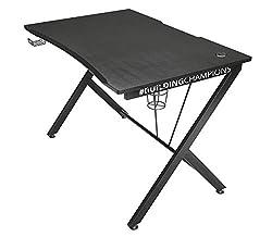 Trust Gaming Tisch - GXT 711 Dominus Ergonomischer Gaming Schreibtisch mit Kabelmanagementsystem, Headset- und Getränkehalter
