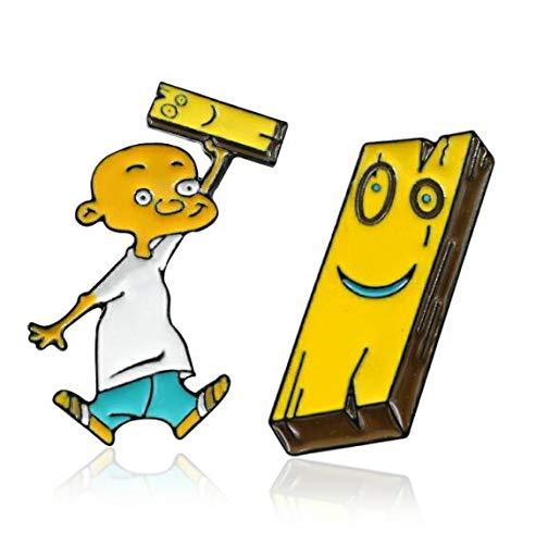 WYKDOY Brosche Anime Cartoon Charakter Kleine Glatze Lustiger Ausdruck Holzblock Brosche Cool Boy Persönlichkeit Gelb Denim Pin Einzigartige Brosche Ist Sehr TemperamentSet