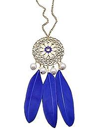 Lureme®de estilo de Bohemia colgante collar de perlas simuladas hoja de la pluma para