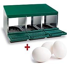 FINCA CASAREJO Ponederos para gallinas + 3 Huevos macizos de Regalo. Ponedero Eco 3 Huecos