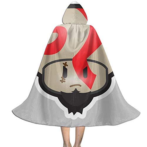 OJIPASD Su-per Ma-Rio Mushroom Kratos God of War Unisex Kinder Kapuzenumhang Umhang Umhang Cape Halloween Weihnachten Party Dekoration Rolle Cosplay (Kratos Kostüm Kinder)
