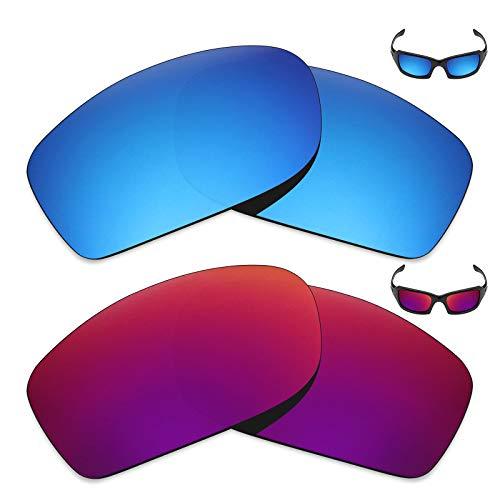 MRY 2Paar Polarisierte Ersatz Linsen für Oakley Fives Squared Sonnenbrille-Reichhaltige Option Farben, Ice Blue & Midnight Sun