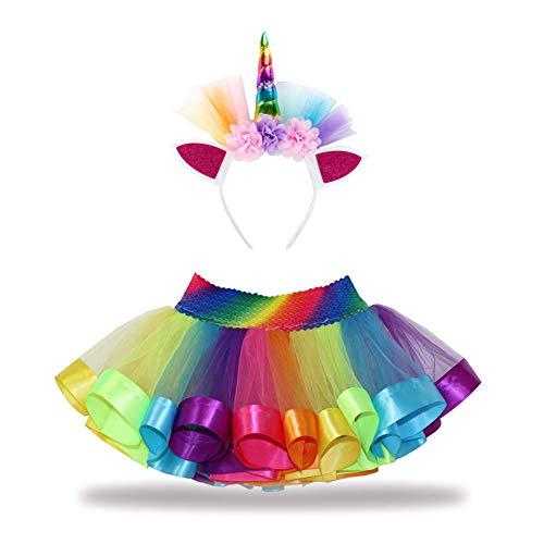 Amorar Mädchen TüTü Kleid Rainbow Rock Prinzessinenkleid Ballett Kostüm Fotos Karneval Halloween Kostüm Cosplay Fancy Dress up Blumenmädchenkleid mit Einhorn Blume Stirnband