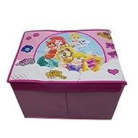takestop Caja Plegable Princesas Disney Princesa Cenicienta Rapunzel Ariel 40x 30x 25cm Caja Tapa reposapiés Puff diseño habitación Dormitorio decoración para Juegos Juguetes