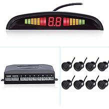 Aparcamiento de coche inversa sistema de radar de copia de seguridad de marcha atrás con sensor de aparcamiento 8delanteros y 4traseros 4Kit pantalla LED–negro