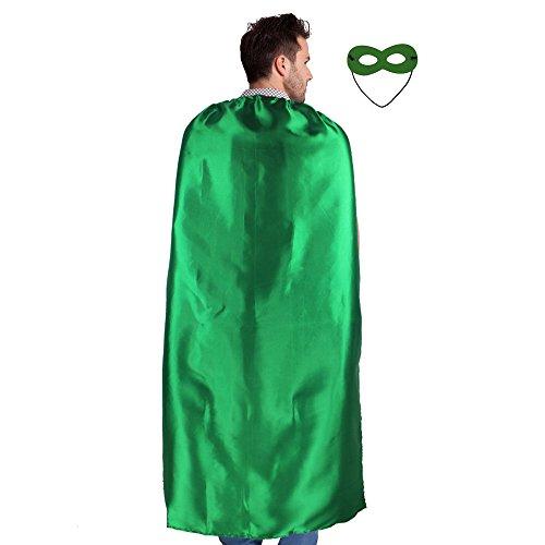 140 cm Erwachsene Umhang Superhero Cape und Maske Kostüm Kostüme für Männer Frauen Verkleiden Party Favor (Grün)