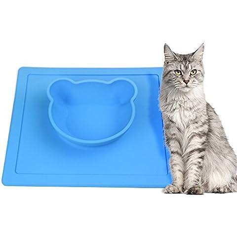 WEILI tazón de fuente de alimento de animal doméstico mat silicona mate durable no seguros y no tóxicos gato y perro alimentos tazón esteras , blue
