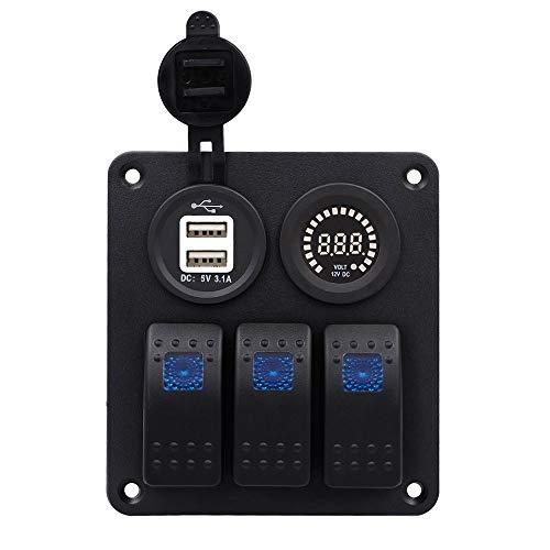 Pannello combinato interruttore a 3 posizioni per la modifica dell'auto, bianco core doppio colore USB Color Voltmeter Combination 3PIN Single Lamp lampada 12-24V