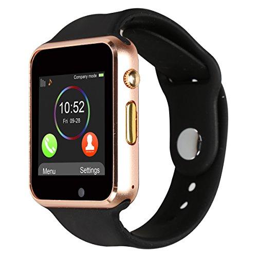 Kivors Reloj Inteligente A1 Bluetooth Smartwatch con TF / Ranura de Tarjeta SIM para Usar Como Teléfono Móvil, con Rastreador de Actividad, Podómetro Inteligente, Sueño, Notificación de SMS, Compatible con Android/ iOS(Gold Negro)