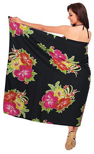 Hibiskus-bikini-top (LA LEELA super glatt Likre Hibiskus Pareo Strand Bikini Sarong 88x39 Zoll Rosa)