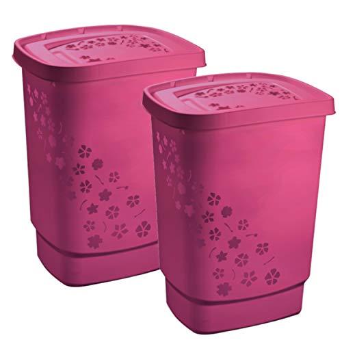 Rotho Flower 2er-Set Wäschesammler 55 l, Kunststoff (PP), pink, 55Liter/44,7 x 34,7 x 60,5 cm