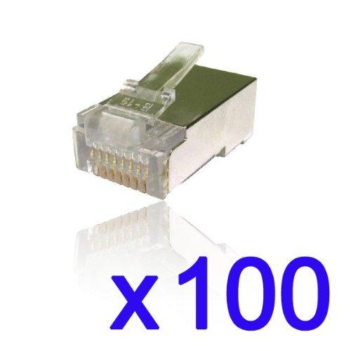 CDL Micro geschirmte RJ45Crimp Stecker 50Micron Vergoldete Stecker (100Stück) (Rj45-stecker Bulk)