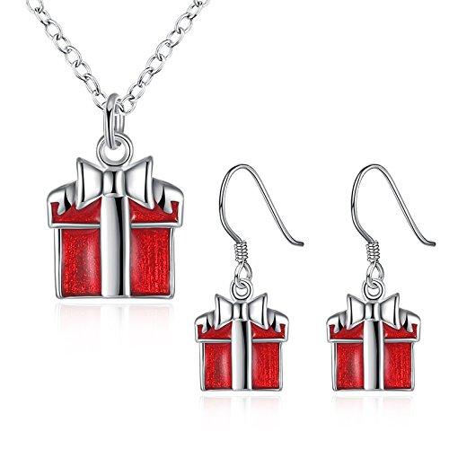 Bishilin Weihnachten Versilbert Silber Halskette Ohrringe Damen Weihnachtsgeschenke Halskette Silber Ohrringe Weihnachtsgeschenke