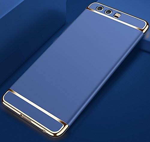 Huawei P10 Plus 5,5 Zoll Hülle, MSVII® 3-in-1 Design PC Hülle Schutzhülle Case Und Displayschutzfolie für Huawei P10 Plus 5,5 Zoll - Schwarz JY50023 Blau