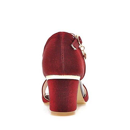 AllhqFashion Femme Couleur Unie Boucle Ouverture D'Orteil à Talon Correct Sandales Rouge