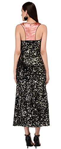 Miracolos Sequins Embellished Women Dress Round Neck with Velvet Back Gold Color Size-S