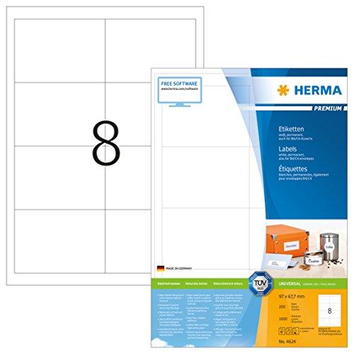 Herma 4624 Universal Etiketten (96,5 x 67,7 mm) weiß, 1.600 Aufkleber, 200 Blatt DIN A4 Premium Papier matt, bedruckbar, selbstklebend