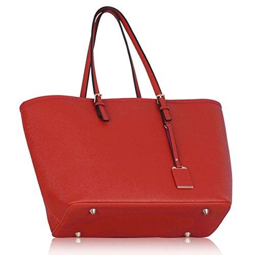 Xardi London, borsa a spalla, da donna, grande, in ecopelle, da viaggio Red Plain