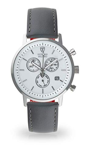 DETOMASO Milano Herren-Armbanduhr Analog Quarz silbernes Edelstahl-Gehäuse weißes Zifferblatt (Leder - Grau)