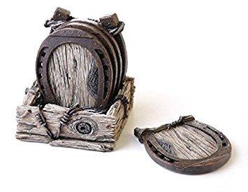 15,7cm Collectible Holz Look mit Hufeisen Untersetzer Set mit Halter -