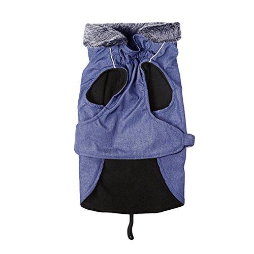 LvRao Wasserdicht Winddichter Sherpa-fleece Hunde Mantel Winterjacke Einstellbare Für Große Hund Haustier Mit Reflektierende Pfote (Blau, L)