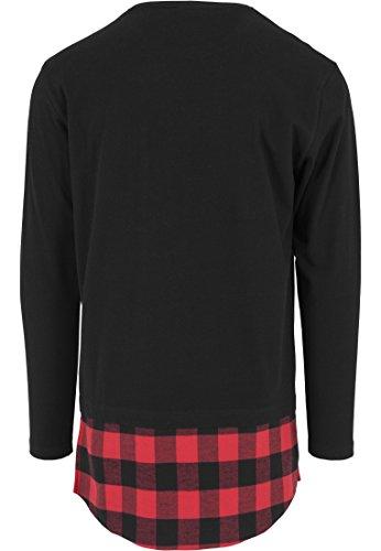 Urban Classics Herren Langarmshirt Shaped Flanell Bottom Long Sleeve Pocket Tee Schwarz/Red