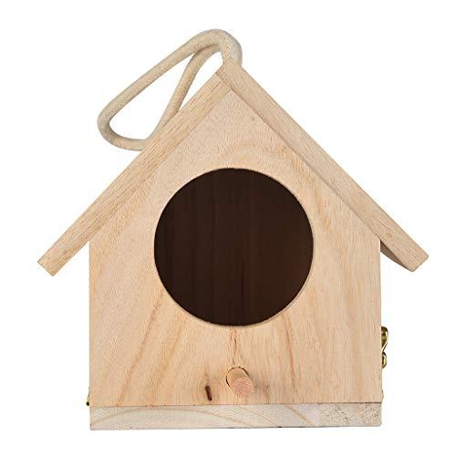 DingLong Vogelhäuschen aus Holz, Vogelhaus Nistkasten Vogelbox, Geschenk für Vogelliebhaber/Naturliebhaber, Aufhängen für Garten und Balkon 14x15x12cm