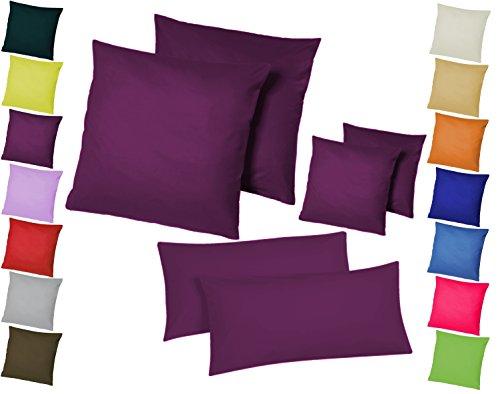 Doppelpack / 2er Set Microfaser Kissenhüllen / Kissenbezüge - Wohndekoration in schlichtem Uni Design mit Reißverschluss und in 3 Größen / Home-Impression (80 x 80 cm, Lila)