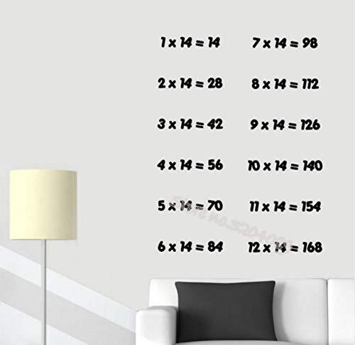 Anzahl 14 mal Mathematik Multiplikationstabelle Wandaufkleber Grundschule Kinderzimmer Kindergarten Dekoration Klassenzimmer Kunst beweglich EB16456 * 73