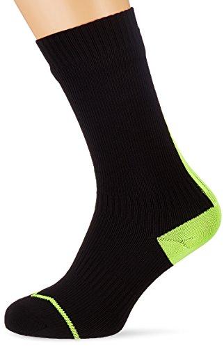 Sealskinz Herren Road Dünne Mid Socken mit Hydrostop,Schwarz (Black/Gelb),47-49 EU(Herstellungsgröße:12-14 UK)