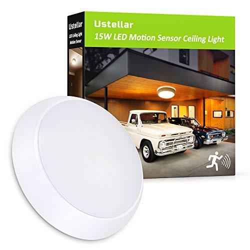 Ustellar 15W LED Deckenleuchte mit Bewegungsmelder, Wasserfest Deckenlampe Ersetzt 120W Glühlampe, 1200LM 3000K Ø26cm Sensor Wandleuchte, 6-8 m Reichweite, Warmweiß Licht