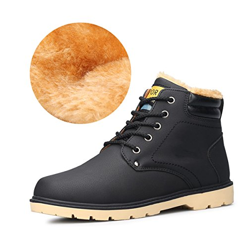 Gracosy stivali da uomo, scarpe da neve invernali in più velluto delicatamente morbido di piatto pelliccia stivaletti desert boot stringate basse sconto natale regalo nero giallo blu marrone