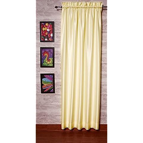 Marfil satén de seda Dupioni sintética cortinas, elección de piezas, anchura y longitud elección con forros opacos por zappycart., 51
