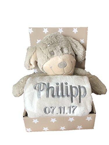 Babydecke mit Name & Geburtsdatum bestickt inkl. Plüsch Stofftier - Geschenk Taufe Geburt (Beige/Weiss - HUND)