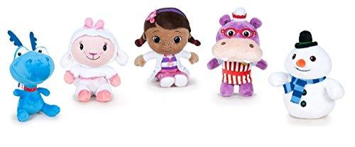 Doc McStuffins, Spielzeugärztin - Pack 5 plüsch Qualität super soft - Schneemann 17cm + Schaf 16cm + Dragon 16cm + Doc das Mädchen 16cm + das hippopotamus 18cm (R.22870)