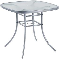 Table d'extérieur, meuble de jardin, 80x 80cm, en acier, argenté, avec trou et support pour parasol